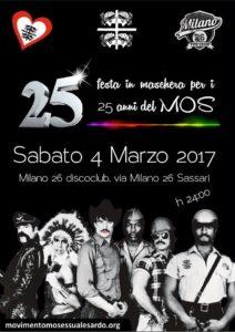 Festa in maschera per i 25 anni del MOS @ Milano 26 discoclub | Sardegna | Italia